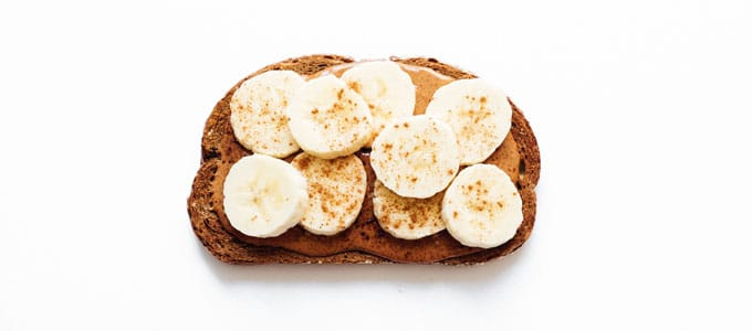 Healthy toast with almond butter and banana
