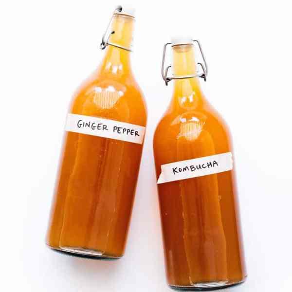Pepper ginger kombucha in bottles