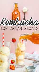 Pouring strawberry kombucha into ice cream float