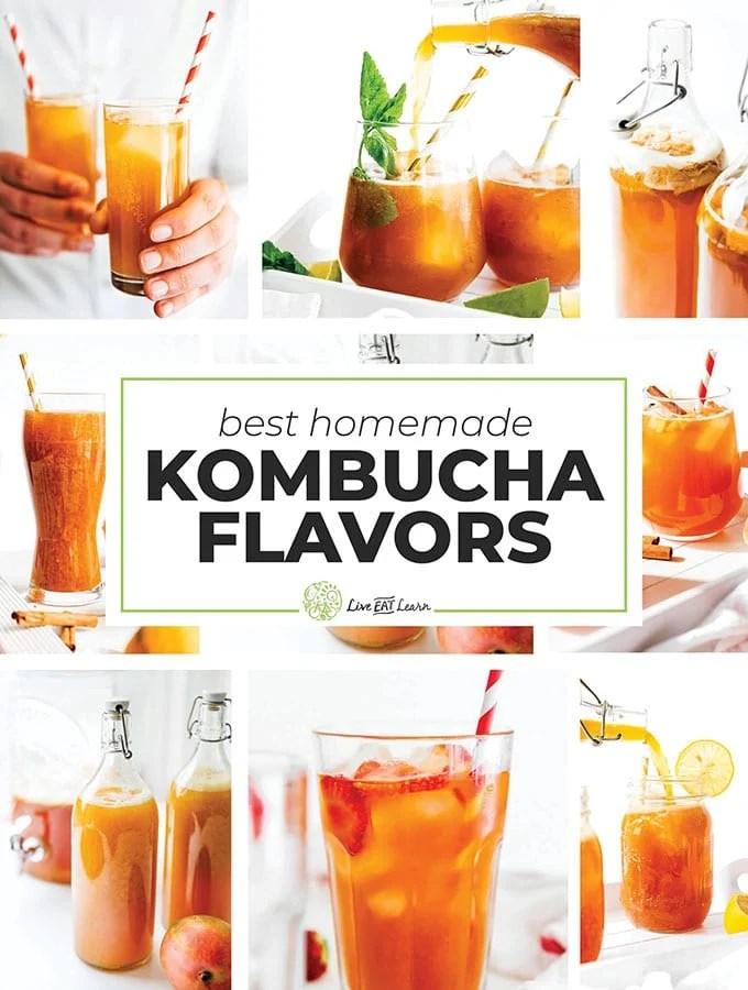 Collage of best homemade kombucha flavors