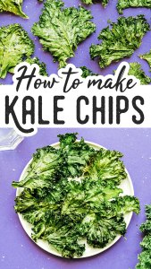 Kale chips on a purple background