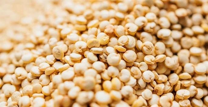Closeup photo of dry quinoa