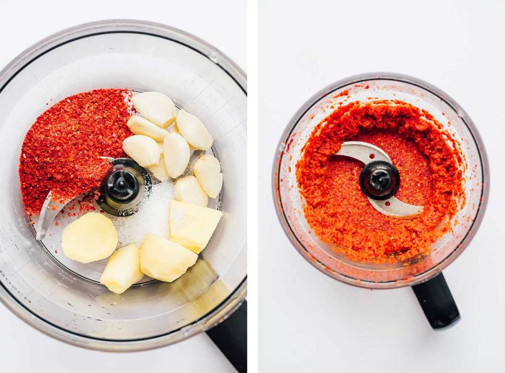 Spicy paste in a food processor for making kimchi