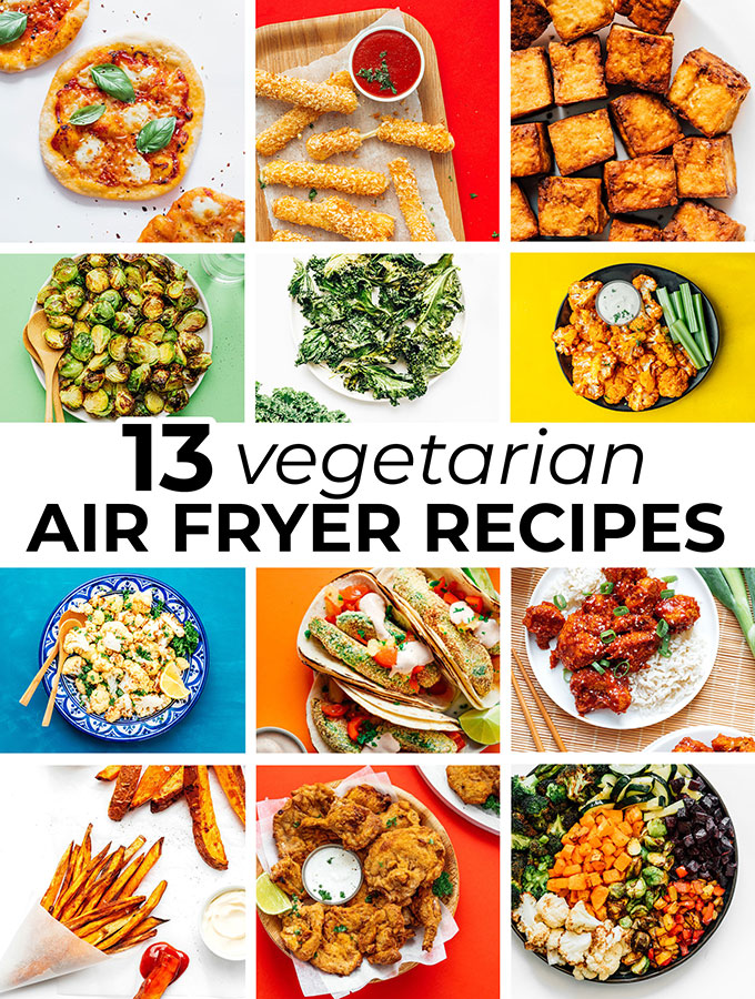 collage of vegetarian air fryer recipes