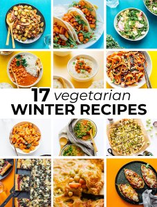 collage of vegetarian winter recipes