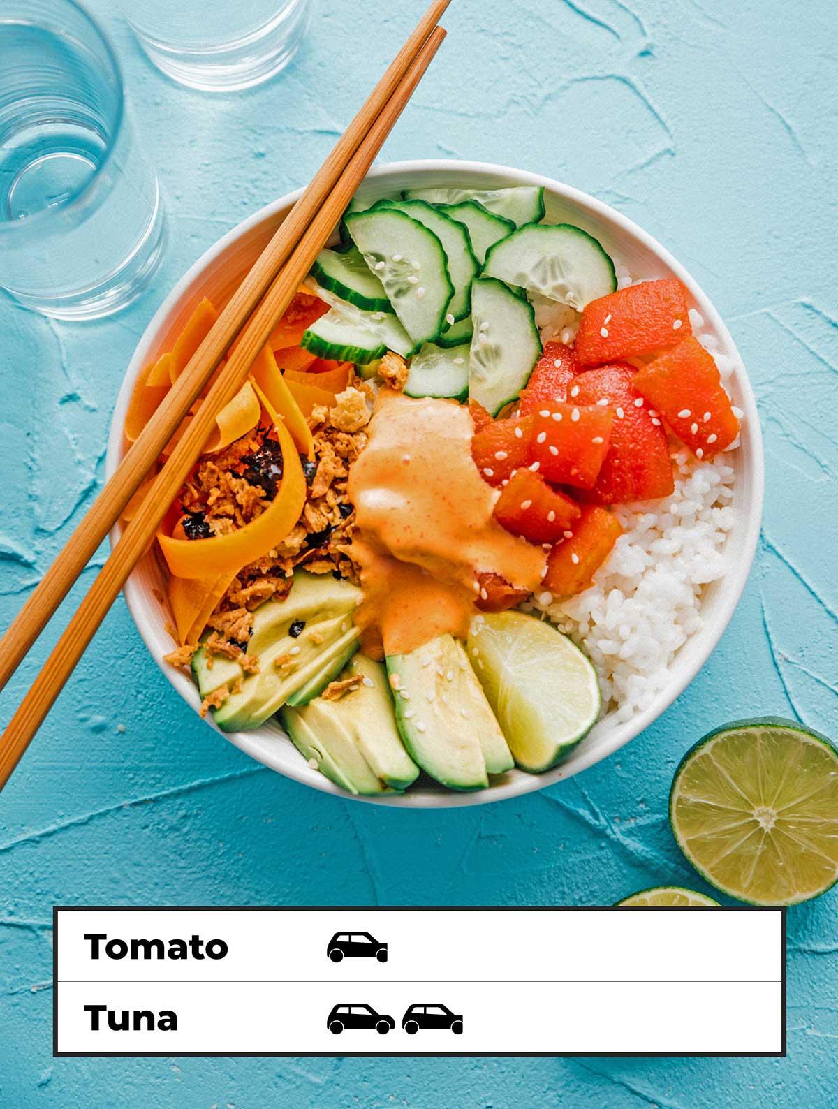 Tomato tuna sushi bowl for reducing carbon footprint