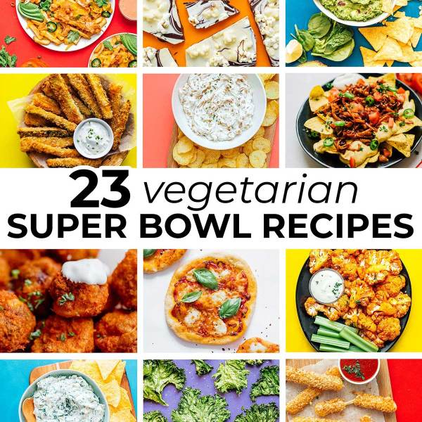 Collage of vegetarian super bowl recipes