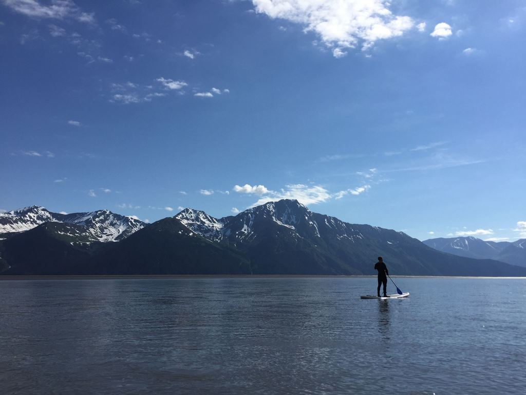 Paddleboarding Turnagain Arm, AK