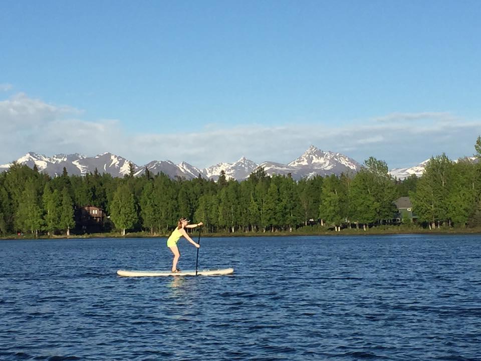 Paddleboarding on Sand Lake, Anchorage, AK