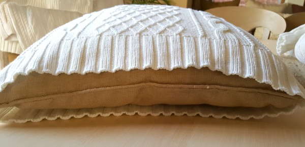 Thrift store sweater pillow cover