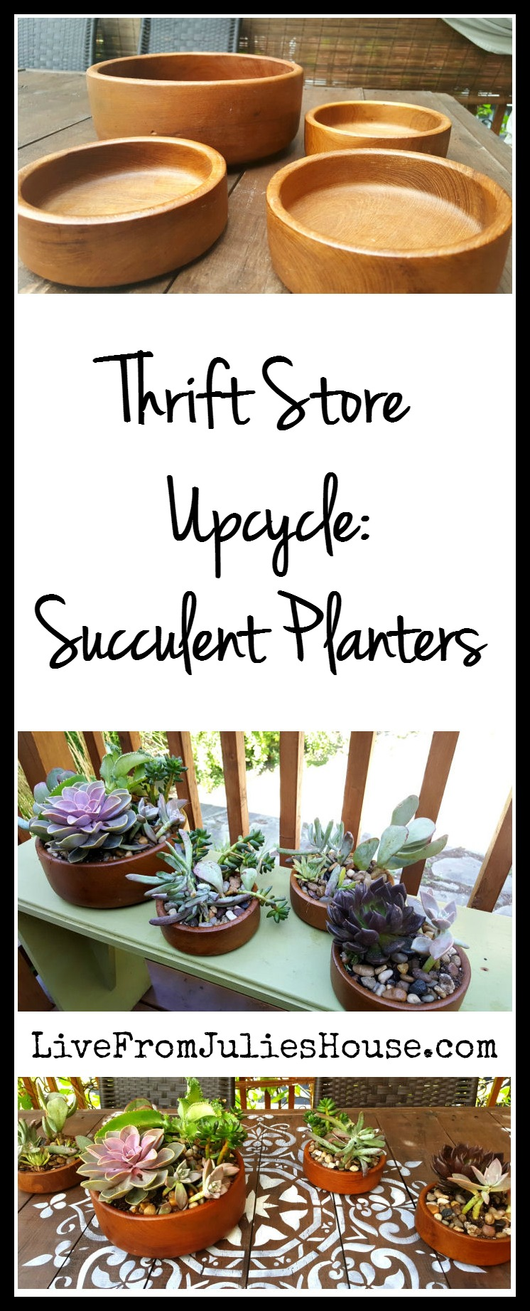Thrift Store Upcycle: Succulent Planters - Wooden salad bowls are common at thrift stores and they make great, earthy-looking planters for succulents. Drill some drainage holes and you're good to go!