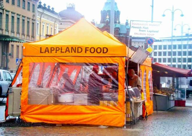 Helsinki Attractions and Top Things to Do in Helsinki Finland: Orange Tents at Helsinki Market Square Kauppatori