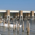 Il terminal acqueo e il moving walkway di Tessera