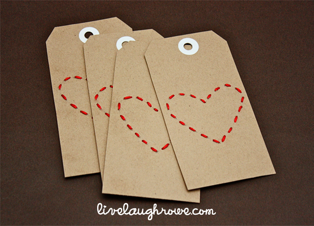 Hand-Stitched Heart Valentine's Day Tags