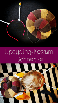 Pinterest-Pin: Upcycling Kostüm Schnecke