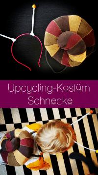 Pinterest-Pin: Upcycling Kostüm Schnecke