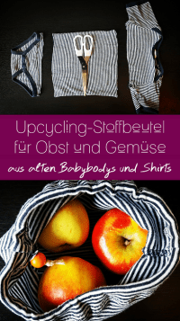 Pinterest-Pin: Upcycling Stoffbeutel