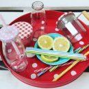Grüne Libelinge im August 2017: Glas und wiederverwendbare Strohhalme