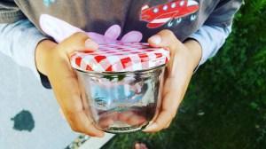 Upcycling-Becher-Lupe: Kleine Tiere eingefangen