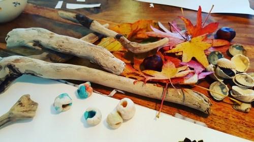 Windspiel aus Naturmaterialien Bastelmaterial