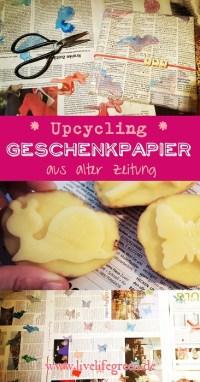 Pinterest-Pin: Upcycling-Geschenkpapier