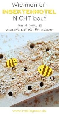 Pinterest-Pin: Artgerechtes Insektenhotel für Wildbienen