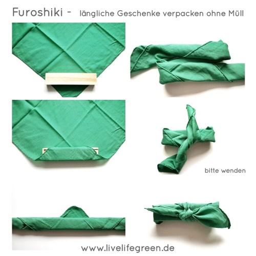 Furoshiki- längliche Geschenke mit Stoff verpacken