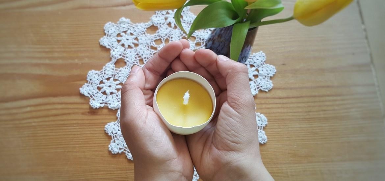 Ei-Kerzen aus Wachsresten gießen - nachhaltige Teelichter