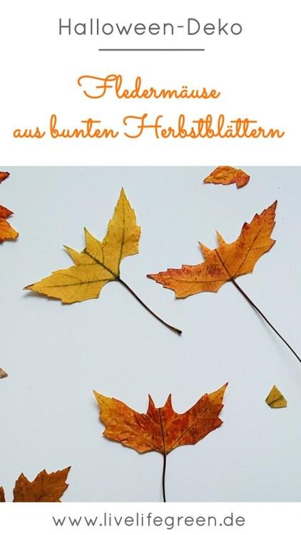 Halloween Fledermäuse aus bunten Herbstblättern basteln