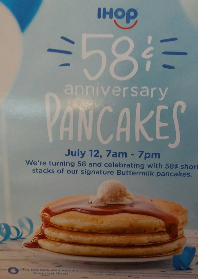 Help Ihop Celebrate Their Th Anniversary With  Cent Pancakes