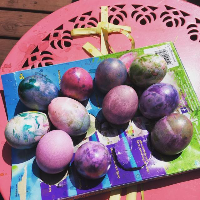Happy Palm Sunday folks! dying Easter Eggs amp making crosseshellip
