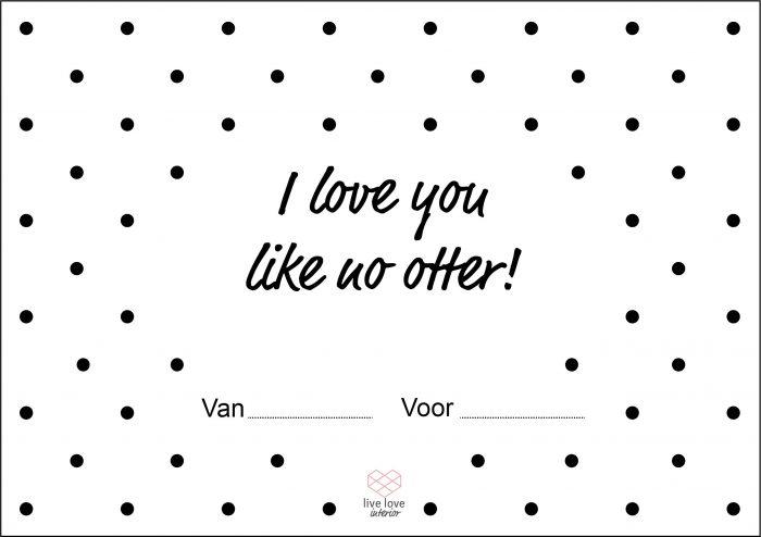 Boterhambriefje - I love you like no otter - Live love interior