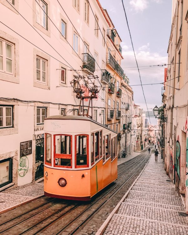 Elevador da Bica. Find the best places in Lisbon for Instagrammable photos and when to go to get them to yourself!
