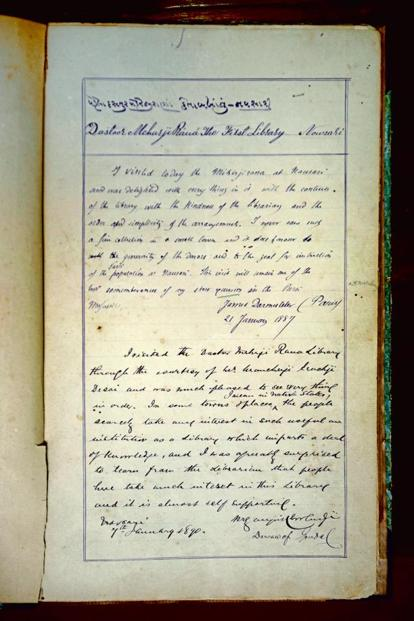 James Darmesteter's entry in the visitors' book dated January 1887. Photo: Abhijit Bhatlekar/Mint