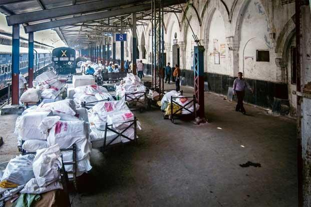 Mail bags waiting to be loaded on to the Kalka Mail at the Old Delhi Railway Station. Photo: Rituparna Banerjee/Mint