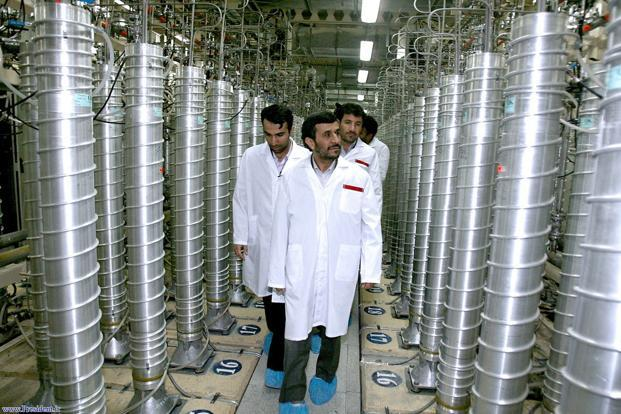 A file photo of former Iranian President Mahmoud Ahmadinejad visiting the Natanz uranium enrichment facilities. Photo: AFP