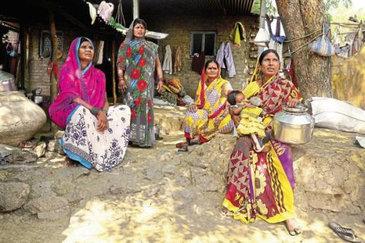 Women in Poi Tanda village of Beed district who have lost relatives to the agrarian crisis affecting Marathwada. Photos: Abhijit Bhatlekar/Mint