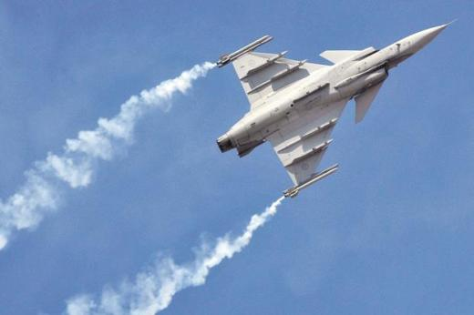 The Saab Gripen fighter jet at the Aero India Bengaluru air show. Photo: Bloomberg