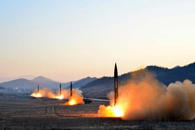 This picture was released by North Korea's KCNA on 7 March, 2017 showing the launch of four ballistic missiles by the Korean People's Army during a military drill at an undisclosed location in North Korea. Photo: AFP/