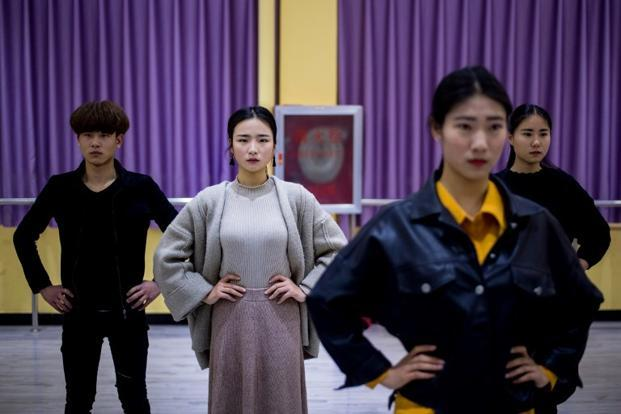Jiang Mengna (2nd left) attending a dance class at the Yiwu Industrial & Commercial College in Yiwu, east China's Zhejiang Province. Photo: Johannes Eisele/AFP