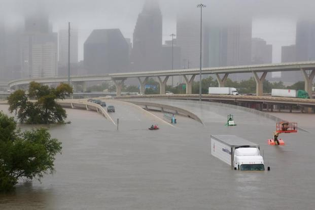 An interstate highway submerged from the effects of Hurricane Harvey seen during widespread flooding in Houston, Texas, on Sunday. Photo: Reuters