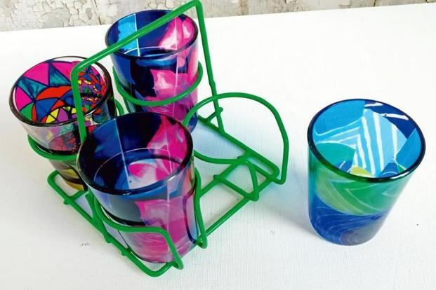 Painted tea glasses with stand by Art for Akanksha (The Akanksha Foundation). Photo: The Akanksha Foundation