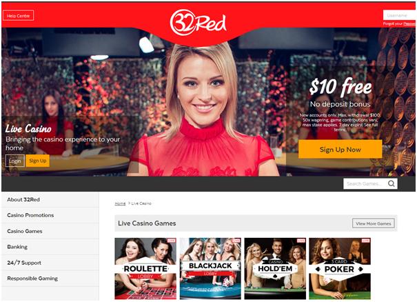 32 red live casino