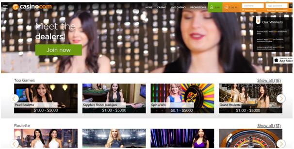 Casino.com live dealer games in CAD