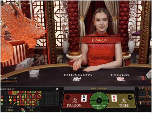 Dragon Tiger- Live casino game from Evolution Games