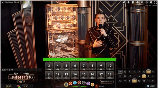 How to play Lightning Dice game at Live Casino Canada