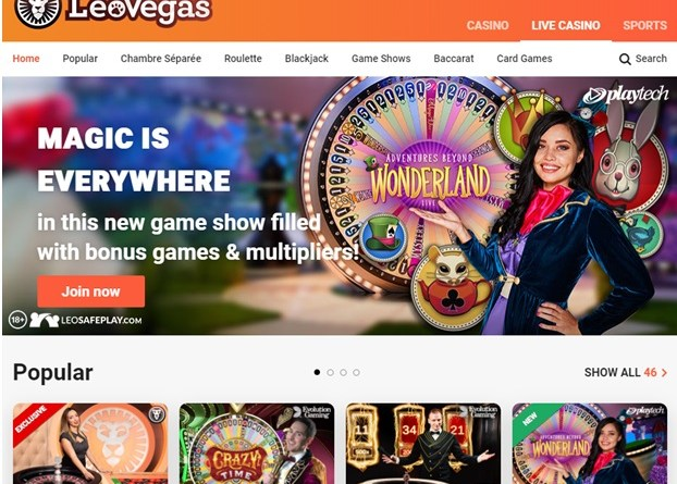 Leo Vegas Chambre Separee and Game Shows in CAD to play and win
