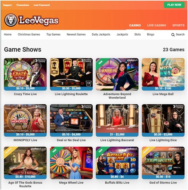 Leo Vegas Live Game Shows