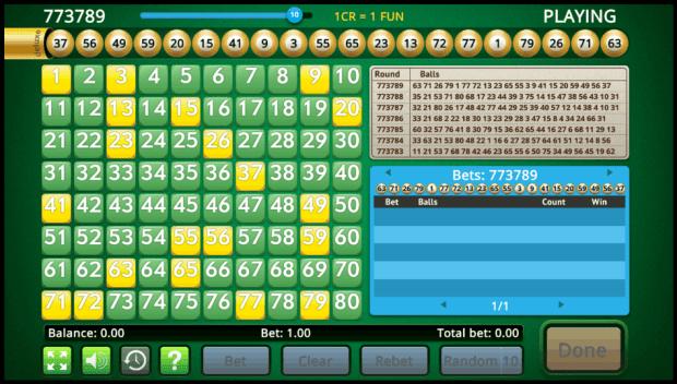 Live Keno game