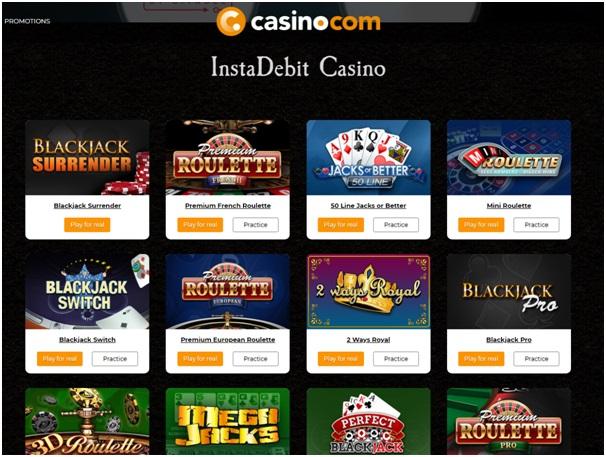Live casinos accepting Instadebit Deposit Options